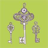ключи установили сбор винограда Ретро ключевой шаблон дизайна логотипа вектора антиквариаты или старый значок вещи Стоковое Изображение RF