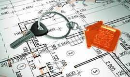 ключи 3d с кольцом для ключей в форме дома домашняя помадка Стоковые Изображения