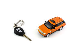 Ключ автомобиля и модель автомобиля Стоковые Фото