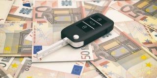 Ключ автомобиля на предпосылке банкнот евро иллюстрация 3d иллюстрация вектора