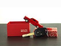 ключ автомобиля для подарка, автомобиля игрушки и космоса экземпляра Стоковая Фотография