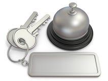 Ключ гостиницы с прямоугольным пустым ярлыком на колоколе кольца и приема 3d иллюстрация вектора