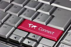 Ключ глобуса, который нужно соединиться к миру. Стоковое Изображение RF