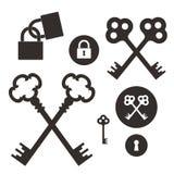 ключ замок Комплект значка Стоковые Фото