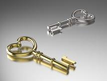 ключ золота и серебра иллюстрации 3D Стоковые Изображения