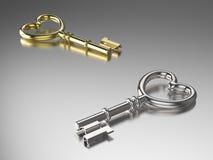 ключ золота и серебра иллюстрации 3D Стоковое фото RF