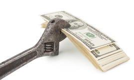 Ключ и счеты валюты доллара США изолированные на белой предпосылке S Валюта доллара Стоковое фото RF