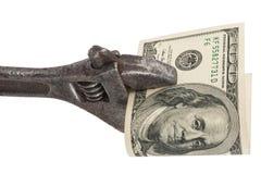 Ключ и счеты валюты доллара США изолированные на белой предпосылке S Валюта доллара Стоковое Изображение RF