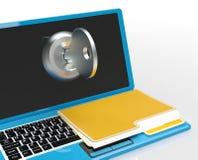 Ключ и файл на компьютерных выставках защищают пароль или открывать стоковое фото