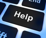 Ключ компьютера помощи показывая поддержку и ответы помощи Стоковая Фотография RF
