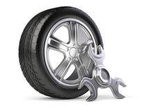 Ключ колеса и обтекателя втулки Значок обслуживания 3d автомобиля Стоковые Фотографии RF