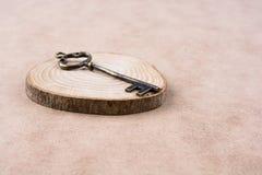 ключ на куске дерева Стоковая Фотография