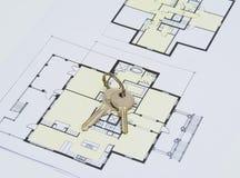 Ключ на плане дома Стоковая Фотография RF