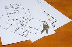 Ключ на плане дома Стоковые Фото