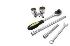 Ключ, ручка храповика, ключи гнезда и бар наполнителей Стоковые Фотографии RF