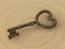 ключ сердца иллюстрации 3D ржавый ретро Стоковое Изображение