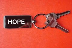 Ключ с словом на красной предпосылке, Стоковое фото RF