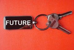 Ключ с словом на красной предпосылке, Стоковое Фото