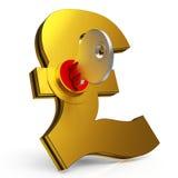 Ключ Gbp показывает сбережения и финансы стоковые фото