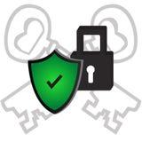 Ключ padlock зеленого цвета иллюстрации вектора значка безопасностью Стоковые Изображения RF