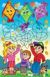 Лабиринт 9 внешних детей с змеями Стоковая Фотография