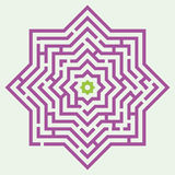 Лабиринт в форме 8-остроконечной звезды иллюстрация вектора