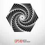 Лабиринт геометрической иллюзии шестиугольника священный Спирально дизайн в 3d черно-белом Стоковые Изображения RF
