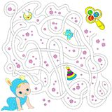 Лабиринт для детей воспитательные игры Найдите путь также вектор иллюстрации притяжки corel Стоковое фото RF