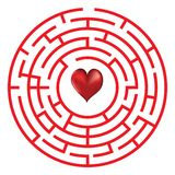 Лабиринт концепции влюбленности с сердцем иллюстрация вектора