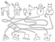 Лабиринт рождества ` s детей расцветки Воспитательная игра бесплатная иллюстрация