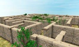 Лабиринт, стена Sone, стены, головоломка Стоковое Фото