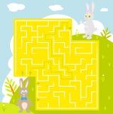 Лабиринт с кроликом с ответом Найдите правильный путь бесплатная иллюстрация