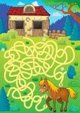 Лабиринт 33 с темой лошади Стоковые Изображения RF