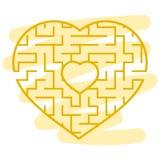 Лабиринт цвета сформированный сердцем Игра для детей и взрослых Головоломка для детей Головоломка лабиринта Плоская иллюстрация в иллюстрация штока