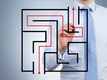 Лабиринт чертежа бизнесмена Стоковое Изображение