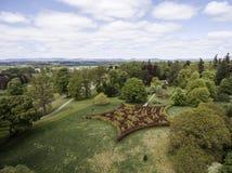 Лабиринт Шотландия Великобритания ландшафта леса парка съемки Aearial Стоковое Изображение RF