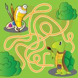 Лабиринт для детей - помогите черепахе получить к краскам и щеткам для красить Стоковая Фотография