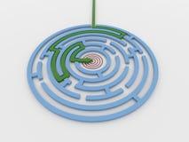 Лабиринт 3D лабиринта представляет с зеленой стрелкой для нацеливания Стоковые Фотографии RF