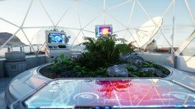 Лаборатория космоса, интерьер научной фантастики жизнь дальше повреждает, планета чужеземца Заводы в космосе иллюстрация вектора