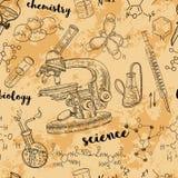 Лаборатория химии винтажной безшовной картины старая с микроскопом, трубками и формулами иллюстрация вектора