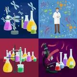 Лабораторное оборудование исследования образования химии, стеклянная лампа научной лаборатории, вектор Стоковые Изображения