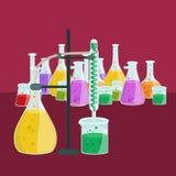 Лабораторное оборудование исследования образования химии, стеклянная лампа научной лаборатории, вектор Стоковые Фотографии RF