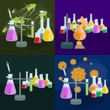 Лабораторное оборудование исследования образования химии, стеклянная лампа научной лаборатории, вектор Стоковое Фото
