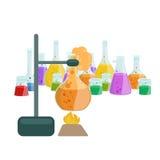 Лабораторное оборудование исследования образования химии, стеклянная лампа научной лаборатории, вектор Стоковое фото RF