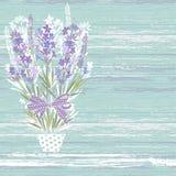 Лаванда в цветочном горшке на деревянной предпосылке текстуры Vector иллюстрация с местом для текста Приглашение, поздравительная бесплатная иллюстрация