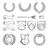 Лавровые венки силуэта в различных формах Стоковое фото RF