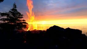 Лагерный костер пляжа захода солнца Великих озер акции видеоматериалы