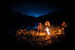 Лагерный костер с друзьями Стоковое Фото
