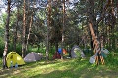 Лагерь в расчистке в древесинах Стоковое Изображение