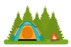 Лагерь леса Шатер с лагерным костером в лесе иллюстрация штока